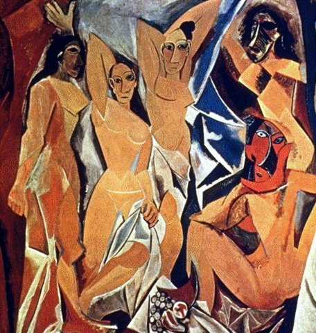 Pablo Picasso'nun 1907'de yaptığı Avignonlu Kızlar Kübist bir resim değil ama çok devrimci. Anatomi kaygısı olmadan yapılmış, objeler deforme edilmiş, perspektif yok, derinlik, hacim yok. Tablo pek çok değişik evreden geçmiştir ve hala bitirilmemiş durumdadır. Resim adını, Barcelona'da genelevlerin bulunduğu Avignon Sokağı'ndan alır. Tablo 1937 yılına kadar sergilenememiştir. Tablodaki şiddet üslubu dönüştürmüştür. Bazı eleştirmenlere göre bu tablo Kübizm'in başlangıç noktası olmuştur.