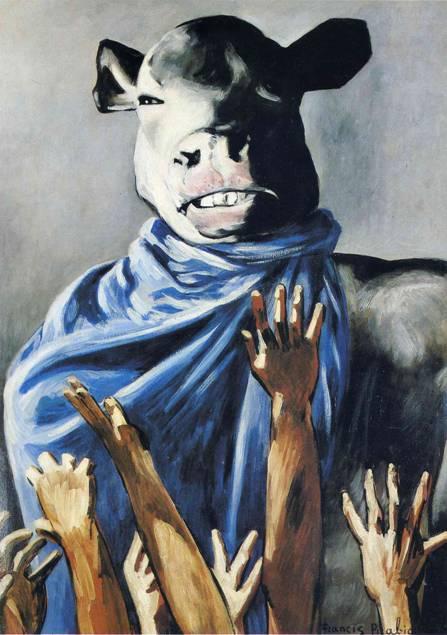 """Francis Picabia (1879-1953) önce Kübist, sonra Dadaist, sonra Sürrealist. Dadaistlerin en anarşist olanlarından. Hiçbir anlamı olmayan makineler yapıp bunlara uygunsuz, ulvi, mistik isimler takmış. İnsanlarla, dini konularla alay etmiş. Yıkıcı. Eserleri estetik olmasın, sanata karşı olsun istemiş. """"Sanat budalalıktır"""", """"Sanat aptallara verilen kimyevi bir maddedir"""", """"Başımız düşünceler yer değiştirebilsin diye yuvarlaktır"""" onun sözlerinden bazıları. Yukarıdaki tablosunun adı Buzağı Tapımı."""
