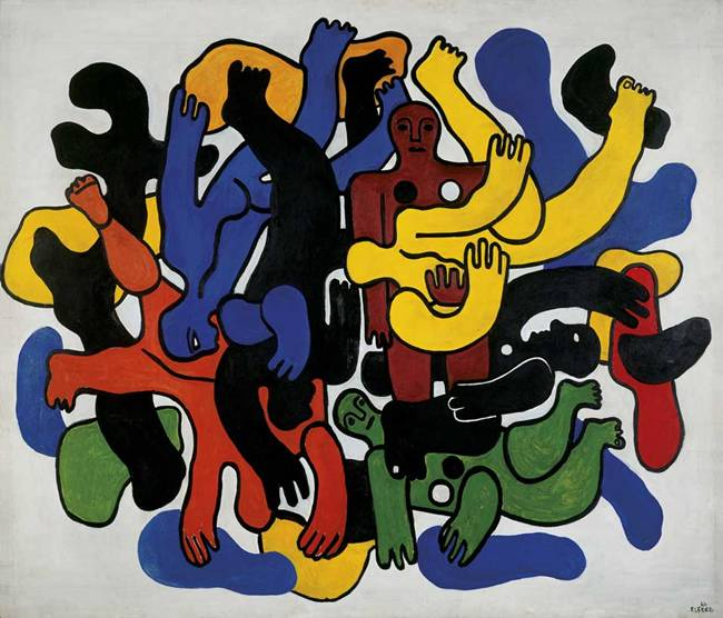 """Fransız ressam, heykeltraş, seramikçi, film yapımcısı ve tasarımcı Fernand Léger (1881-1955) Kübist harekete öncülük eden ressamlardan biridir. Tabloları, Pablo Picasso ve Georges Braque gibi Kübist ressamların eserlerinden daha az parçalara ayrılmıştır. Kıvrımlı şekillere olan saplantısı nedeniyle, düz yüzeyleri ve üç boyutlu formları çalıştığı seri ile kendisine 'Tubist' takma adı verildi. Resimlerinin sıradan izleyiciler için anlaşılır olabilmesine çalıştı. Savaştan sonraki çalışmaları, içerik ve form bakımından daha mekanikleşti. Stili mekanik parçaların hassaslığını ve parlaklığını içeriyordu. Léger, Pürist hareket ile de ilgilendi. Bu akım, duygulardan ziyade biçimsel komposizyonları kullanmayı tercih eden """"matematiksel lirizme"""" önem veriyordu. 1923-24 yılları arasında Amerikalı ressam ve fotoğrafçı May Ray (1890-1977) ile birlikte, Le Ballet Méchanique adlı kurumsal bir film üzerine çalıştı. Savaş yıllarında sinema ve tiyatro için duvar resimleri ve tasarımlar üretti. İkinci Dünya Savaşı süresince Amerika'da yaşadı ve Kaliforniya'da sanat eğitimi verdi. Bu süreçte çalışmalarının ana konusu bisikletçiler ve akrobatlar oldu. Çalışmalarındaki koyu siyah kontürler, koyu renkler ve dikdörtgenler ile silindirik formlar arasındaki kontrastlar hiç değişmedi."""