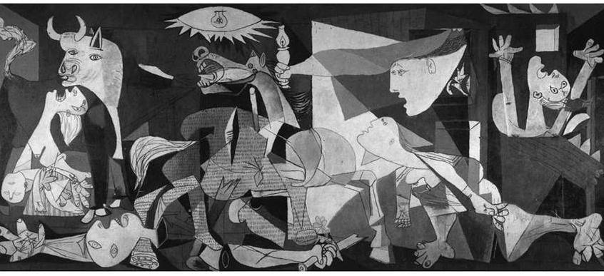 1936-1939 yıllarında cereyan eden İspanya İç Savaşı esnasında yaptığı tablolarda hayvan figürlerini çok kullanıyor. Bu dönemin imgeleri İspanya'ya özgü, mitolojik ve törenseldir. 1937 tarihli Guernica adlı tablosunda siyah, beyaz ve griyi kullanmış. Tablodaki at insanlığı, boğa vahşeti temsil ediyor. Guernica büyük ölçüde içe dönük bir yapıttır. Bask bölgesindeki en eski kent ve Baskların kültür geleneğinin merkezi Guernica kenti General Franco yanlısı Alman bombardıman uçakları tarafından yerle bir edilmişti. Bu olayın üzerinden bir hafta geçmeden Picasso resmine başladı. Cumhuriyetçi İspanya hükümeti tarafından zaten kendisine Paris Dünya Fuarı'na konmak üzere bir duvar resmi ısmarlanmıştı. Resim, 1937 Haziran'ında fuardaki İspanya pavyonuna kondu. Guernica bir efsanedir ve 20. yüzyılın en ünlü resmidir. Özelde faşizmin, genelde savaşın acımasızlığına karşı sürekli bir protesto olarak görülür. Sivil halkı sindirmek için bombalanan ilk şehir Guernica olmuştu. Picasso'nun kişisel protestosu dünya çapında önem kazandı, Guernica adı tüm savaş suçlarını mahkum eden bir sözcük oldu. Picasso, gerçek olayı imgelerde canlandırmaya çalışmamıştır. Tabloda kent, uçaklar, patlama yoktur. Suçlanacak düşman yoktur, kahramanlık da yoktur. Protesto, bedenlerdedir: ellere, tabanlara, atın diline, annenin memelerine, gözlere sinen acıdadır.