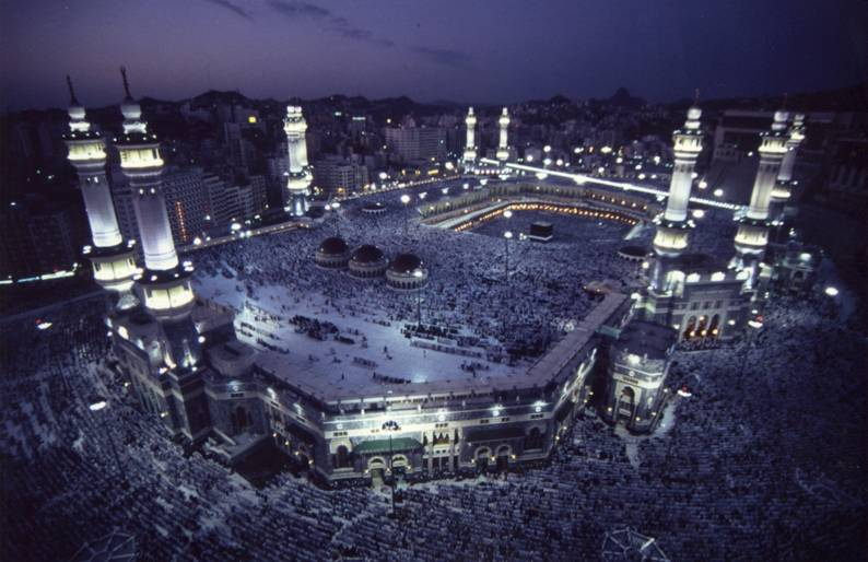 Saudi Arabia – Mecca, the sacred Great Mosque (al-Masjid al-Haram) and Ka'ba during Hajj.