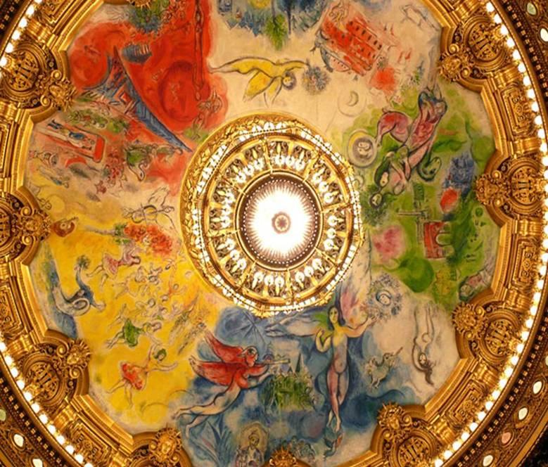 Chagall, Paris Opera Garnier'nin (1875) tavanına 1964 yılında on dört farklı bestekar ve eserlerini anlatan figürler yapıyor. Çaykovski için sarı, Berlioz ve Wagner için yeşil, Mussorgski için mavi, Romeau ve Debussy için beyaz, Ravel ve Stravinski için kırmızı kullanıyor. Fotoğraf: www.cagatayoncel.com