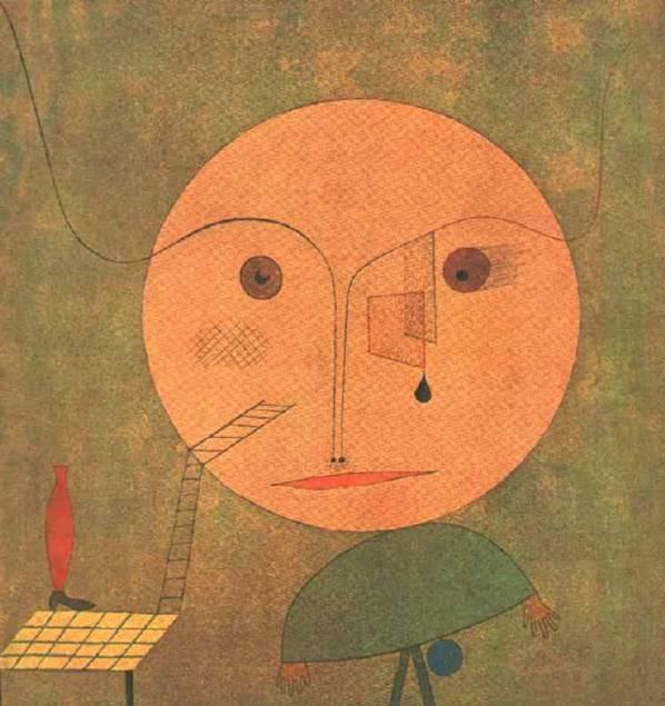 Error on Green, Paul Klee, 1930. Bu naif resimde burun ve kaşlar birleşip baştan ve tablodan dışarı çıkıyor, kozmik enerjilerle birleşiyor. Gözlerden biri ay, biri güneş.