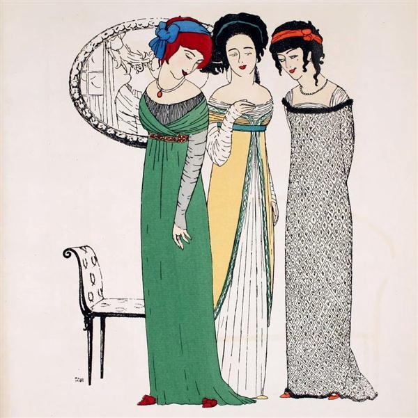 Paul Poiret tasarımı ampir elbiseler, 1908.