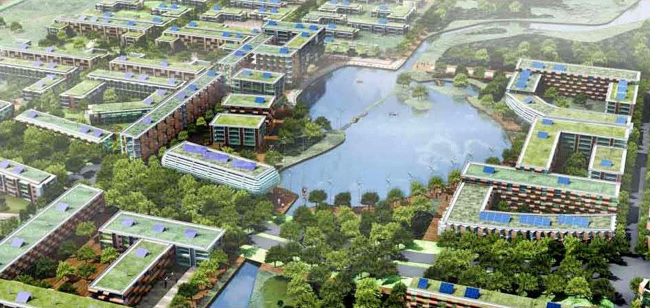 ABD'de Florida'da Osceola County'de kurulan Destiny eko şehri 200 mil uzunluğunda su kanallarından oluşuyor ve sürdürülebilir teknolojilere dayanıyor. İki yüz elli bin kişiyi barındıracak olan eko şehrin bittiği zaman yeşillikler içinde bir Venedik gibi olması tasarlanıyor. Fotoğraf: www.bibliotecapleyades.net