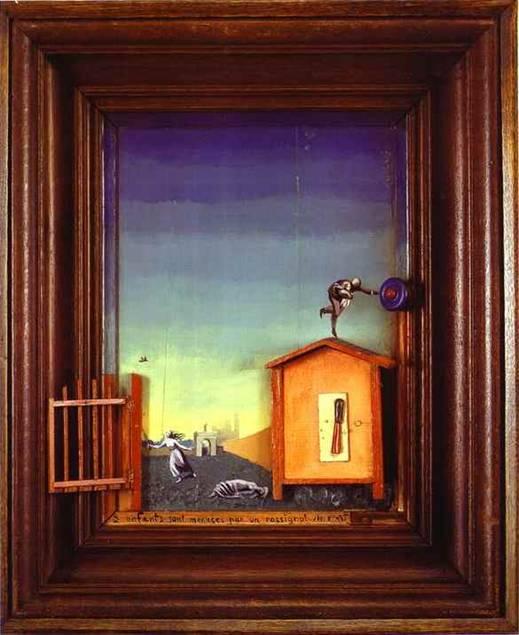 Ressam, heykeltraş, grafik sanatçısı Dadaizm'in ve Gerçeküstücülük'ün temsilcisi Max Ernst, resim sanatına reklaj ve frotaj tekniklerini kazandırıyor. Reklaj, boyadığı yeri tarak gibi bir nesne ile tarama; frotaj ise pütürlü satıh üzerine konan kağıda karalama yaparak bir desen elde etmek. Frotajdan çıkan desene odaklanıp bilinçaltını zorluyor. Bu bir çeşit hayalleri süsleme. Ernst bu tabloda hakiki çerçeve içine gerçek zili olan, ahşap bahçe kapılı, ahşap evi olan bir tablo yapmış. Sanat, zanaat bileşimi ve absürd bu tablo, Sentetik Kübizm akımında eser veren sanatçıların yaptığı gibi, ' hangisi gerçek ' sorusunu sordurtuyor. Ernst'in hayvanlar serisi de var. Kuşlar serisindeki kuşlardan birinin adı Loplop. Resimdeki hayvan içimizdeki kötülüğün tezahürü sayılıyor. Ama bu kötülüklerin dışa tezahürü şirin bir şekilde gerçekleşmiş oluyor. ABD'ye yerleşip orada ressam bir hanımla evleniyor, Dorothy Tanning, kendini istakoz olarak resmediyor. Fotoğraf: www.hisse.net