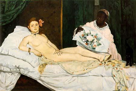 Olympia, Edouard Manet, Müze D'Orsay, Paris. Tablo, ilk kez 1865 yılında Paris Salonu'nda sergilendiğinde büyük bir skandala sebep oldu. Eserde, hayat kadını olduğu izlenimi uyandıran çıplak beyaz bir kadın, klasik tabloların aksine hiçbir gönderme içermeyen gerçek bir çıplaktı. Bir tanrıça yerine bir hayat kadınının konu edilmesi, Olympia'nın izleyenlere utanmazca bakması, keskin ana hatlara ve tezat içeren sert renklere sahip tablo skandal yarattı. Manet'nin kadınındaki başkaldırıyı yansıtması ve geleneksel eserlerdeki ideal kadın imgesini bozması ile Olympia'nın, sanat tarihinin ilk avangard çıplağı olduğu düşünülür. Eser, Manet'nin diğer iki tablosu Kırda Öğle Yemeği ve Folies-Bergère'de Bir Bar (1881) ile birlikte Modernizm'in simgesi kabul edilir.