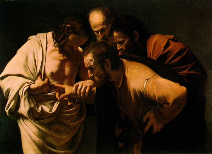 "The Incredulity of Saint Thomas, Caravaggio, 1601-02, Neues Palais, Potsdam, Germany. The Divine One became human so that human beings might become divine."" — Athanasius Photo:www.ibiblio.org"