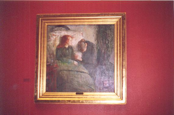 Edvard Munch'un 15 yaşındaki kız kardeşi tüberkülozdan ölmüştür. Munch, hayatı boyunca bu imajı tekrar tekrar çizmiştir. Burada üstte paylaştığımız, Munch'un bu konuyu işlediği dördüncü versiyondur. Eserin sol üst kısmında görülen, kız kardeşinin ölüm döşeğinde oturduğu koltuğu hayatı boyunca saklamıştır. Tablonun kompozisyonu merkezi ve düşeydir. Ölüm konusu İskandinav sanatında oldukça sık işlenir. Altta ise kardeşinin hastalığı ile ilgili yaptığı Hasta Çocuk adlı tablonun bir başka uyarlaması görülmektedir. Oslo Ulusal Müze.