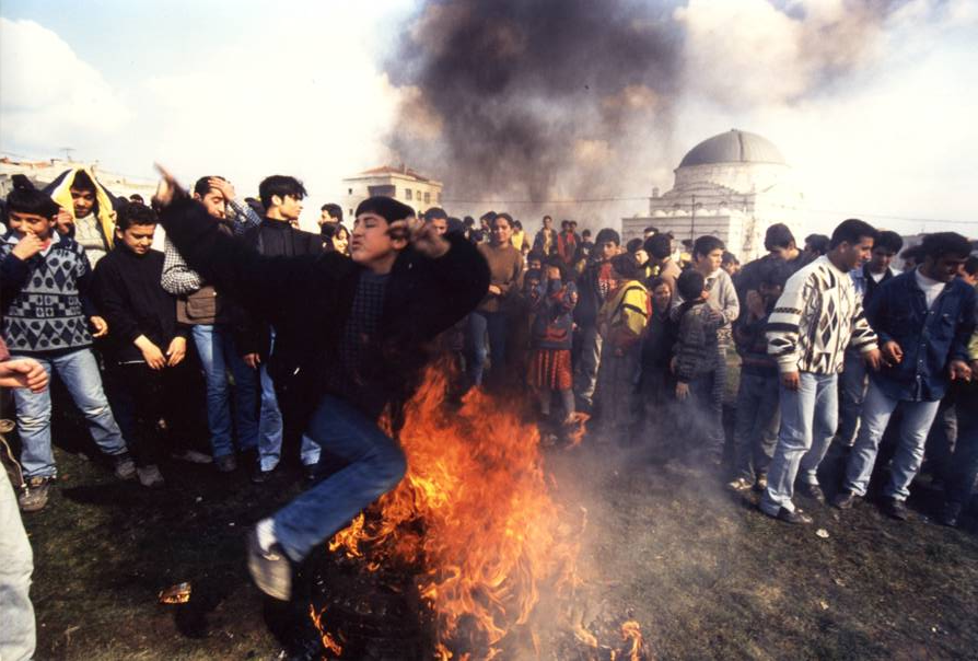 At the Feast of Nevroz, people leap over bonfires making wishes.