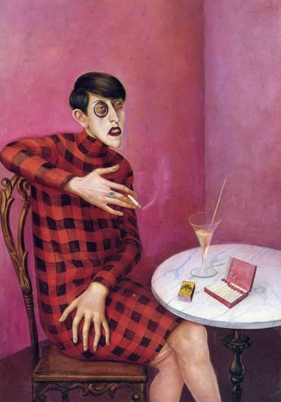 Otto Dix, Gazeteci Sylvia Harden'in Portresi, 1926. Kendisine aristokrasiyi çağrıştıran yeni bir isim seçen; Yeni Almanya için makaleler yazan; gözünde monoklu, elinde sigarası, saç kesimi, önünde içkisi ile Yeni Kadın'ı temsil eden bir kişinin portresini görüyoruz. Fotoğraf: en.wikipedia.org