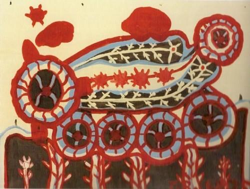 İtalyan Tarcisio Merati (1934-1995), yetişkinlik yıllarının önemli bir bölümünü psikiyatri kliniğinde resim yaparak, yazı yazarak, müzik parçaları besteleyerek geçirdi. Hayali oyuncaklar resmettiği serisi en bilinen yapıtlarıdır. Şizofreni teşhisi ile hastanede yatmakta olan Merati soyut resimler yapıyordu. Fotoğraf ve altyazı: dayoftheartist.com.