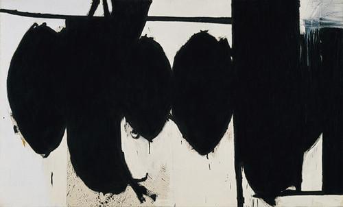 """Robert Motherwell, 40′lı yılların başında kolaj ve otomatizm (öğelerin özgürce birleştirilmesi) tekniklerini uyguladı; soyut araştırmalarıyla olduğu kadar kuramsal çalışmalarıyla da, New York soyut anlatımcılığının ve Amerika çapında bir soyutlamanın gelişmesinde önemli rol oynadı. Yapıtları, iki ana kutup çevresinde odaklaşan büyük dizilerden oluşur: büyük bölümü siyah beyaz, trajik ve lirik """"Elegy""""ler (1948′de başlanmış ve İspanya Cumhuriyeti'ne adanmıştır); yalın ve aydınlık """"Open""""lar (1967′de başlanmıştır). Motherwell yüksek sayılara ulaşan kolaj ve desenlerinin yanı sıra, kitaplar da resimlemiştir."""
