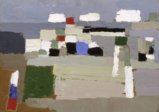 Nicolas de Stael, Peyzaj Çalışması, 1952. Rus asıllı Fransız vadandaşı Nicolas de Stael, kolaj ve tekstil çalışmaları ile kalın boya tabakaları kullanarak yaptığı soyut peyzaj tabloları ile tanınıyordu. Fotoğraf: www.tate.org.uk.