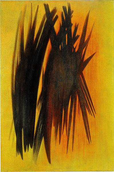 Hans Hartung, T-1954-20. T, tuval üzeline yağlı boyayı; 1954 yapıldığı yılı; 20 ise o yıl yaptığı kaçıncı tablo olduğunu gösteriyor. Fotoğraf: www.nga.gov.au.
