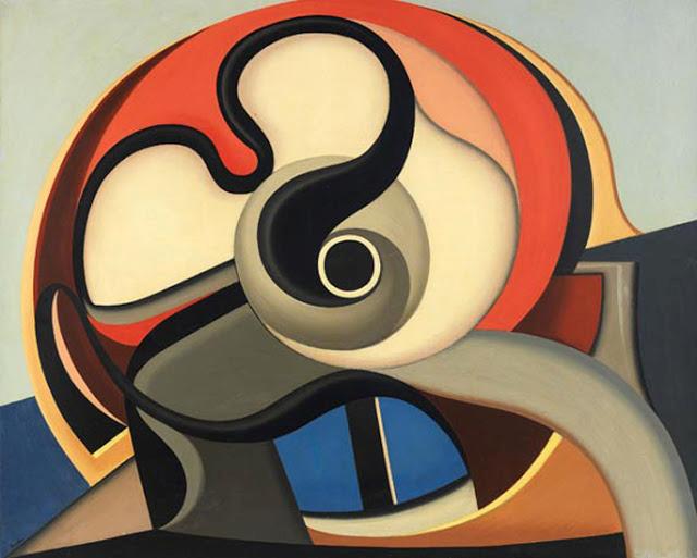 Abstraction-Création grubunun kurucularından Fransız ressam Auguste Herbin'in (1882-1960), 1931 tarihli bir tablosu. Fotoğraf: midcenturia.com