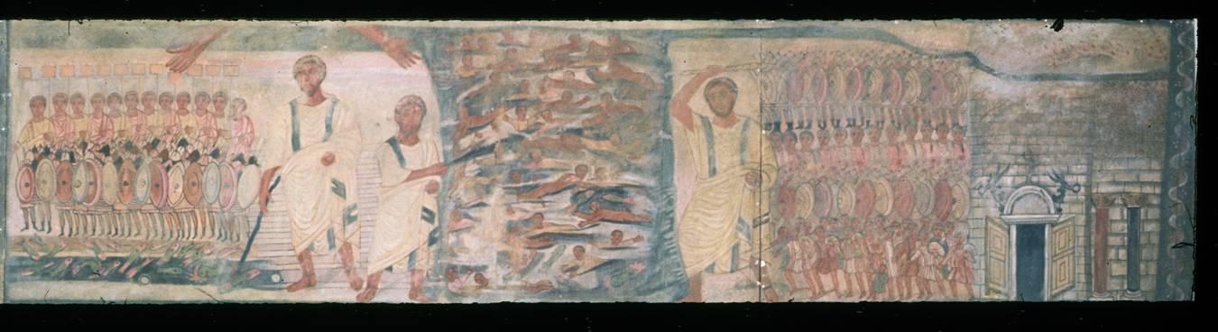 Günümüzde Suriye sınırları içinde kalan Salihiye'deki Dura Europos Sinagog'unda (MS 200'lerin başı) yer alan fresklerden biri de, Exodus-Çıkış freski. blog.kavrakoglu.com