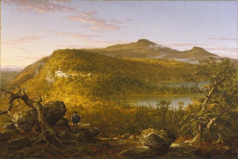 Hudson River School'un kurucusu olarak kabul edilen Thomas Cole'un (1801-1848) tablosu sabahleyin Catskill Dağları'ndaki iki gölü ve dağ evini gösteriyor. Tarihinin 1844 olduğu tahmin ediliyor ve Brooklyn Sanat Müzesi'nde sergileniyor. Grupta Cole'dan başka Wislow Homer, William Jacop, Thomas Eakin ilk akla gelenlerden.