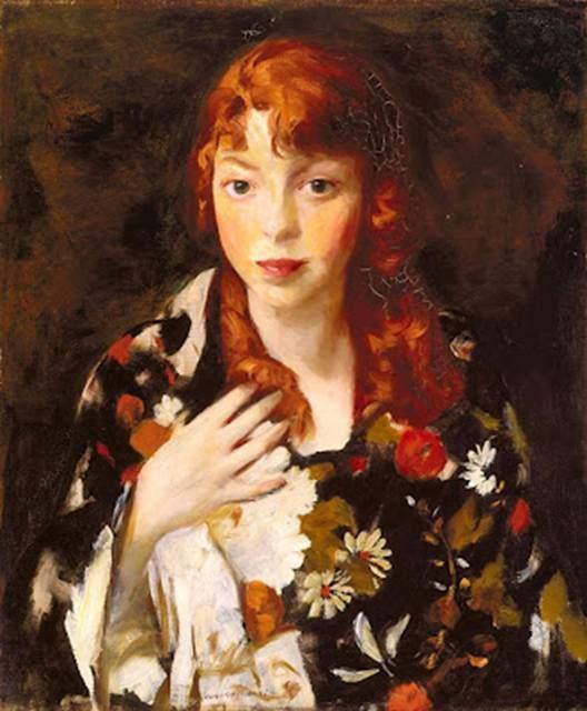 Ashcan Okulu'nun kurucusu Robert Henry'nin (1865-1929) Edna Smith'in Kimonolu Portresi adlı yapıtı. Fotoğraf:redhairpaintings.blogspot.com