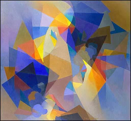 Stanton MacDonald-Wright, Raigo, 1955. Sanatçının soyut sanata geri döndükten sonra yaptığı, ama Sinkromizm ruhunu taşımaya devam eden bir eseri. Fotoğraf:artcontrarian.blogspot.com