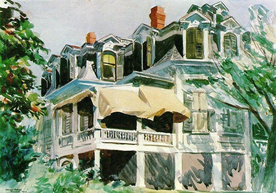 Edward Hopper, The Mansard Roof, 1923. Sanatçı Viktoryen mimariye büyük ilgi duyuyordu ve bir eve vuran güneş, resmetmeyi en sevdiği konuydu. Yukarıdaki, ilk ilgi çeken tablosu olmuştu. Brooklyn Müzesi bu sulu boyayı 100 dolara satın almıştı. Fotoğraf:www.edwardhopper.net