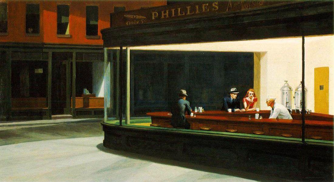 Edward Hopper, Nighthawks, 1942. En bilinen eserlerinden biridir. Bütün gece açık olan Amerikan tarzı ufak bir restoranın bar tezgahında oturan müşterileri resmederken ışığı, mekanı, dışarıda hüküm süren gecenin karanlığını öyle bir şekilde resmeder ki, vurgulanan izolasyon olur. Alman rejisör Wim Wenders, 1997 yapımı filmi The End of Violence'da; yine yönetmen Dario Argento 1976 yılında çektiği Deep Red adlı sürrealist korku filminin dekorunda Nighthawk'tan yararlanmıştır. Nighthawks'un karakterlerinin çizgi film kahramanları ya da James Dean, Marilyn Monroe gibi ünlü pop kültürü ikonları ile değiştirilmiş olanları üretilmiştir. Fotoğraf:www.edwardhopper.net