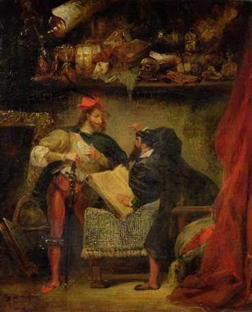 Faust and Mephistopheles, E. Delacroix, 1826-7. Mephistopheles, Faust efsanesinin temel kişilerindendir. Önceleri kötü bir insan olarak tasarımlanmıştı, sonra, insan üzerine Tanrı ile bahse girişen şeytana dönüştü. Faust'un teması, insanın sonunda Tanrı ya da şeytandan hangisine boyun eğeceği üstüne gelişir. Tanrı'nın, insanın özvarlığına güvenerek şeytanla bahse girdiği, insanın sonunda gerçeği bulacağına olan inancın yönlendirici olduğu düşünülür. Fotoğraf:www.oceanbridge.com