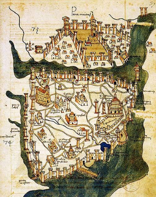 Floransalı Cristoforo Buondelmonti'nin 1422 tarihli Konstantinopolis haritası. Bunun, şehrin günümüze ulaşmış en eski harita olduğu öne sürülüyor. Fotoğraf: wikimedia.org