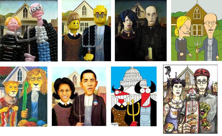 Bu kültürel ikonun, neredeyse sergilenişinden itibaren, defalarca çizgi romanlarda, reklamlarda parodisi yapılmış, farklı şekillerde yer almıştır. Fotoğraf:www.artsology.com