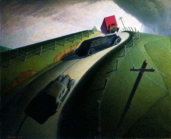 Grant Wood, Death on the Ridge Road, 1935. Depresyonun çaresizliğini yansıtan, elektrik direklerinin şeklinin ölümü haber verdiği bir tablo. Cole Porter tabloyu Williams Collage Müzesi'ne hediye etmiş. Fotoğraf:wcma.williams.edu