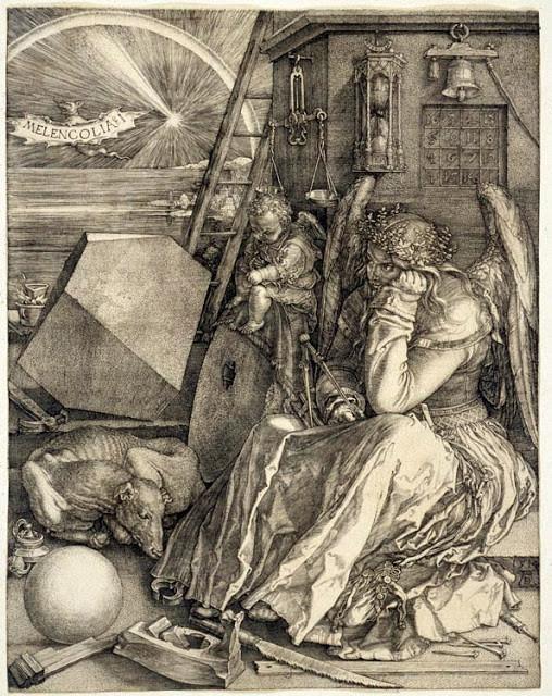 Alman ressam, matematikçi ve matbaacı Albrecht Dürer'in (1471-1528) Melencolia 1 adlı, 1514 tarihli gravürü. Dürer, Rembrant ve Goya ile birlikte eski gravürlerin en önemli isimlerinden biridir. Dürer, resimlerinden değil, gravürlerinden para kazanmıştır. Sanatçının bu gravüründe ne anlatmak istediği çok konuşulmuştur. Bir görüşe göre, Alman simyacı ve okültist Cornelius Aggrippa'nın tanımladığı üç çeşit melankoliden ilkini, sanatçıların yaşadığı yaratıcılık bunalımıyla ilgili olanını, anlatmaktadır. Meleğin Dürer olduğu, matematikçi olduğu için elinde pergel tuttuğu da düşünülmüştür. Bir başka görüşe göre ise, gravür simyacılıkla ilgilidir.