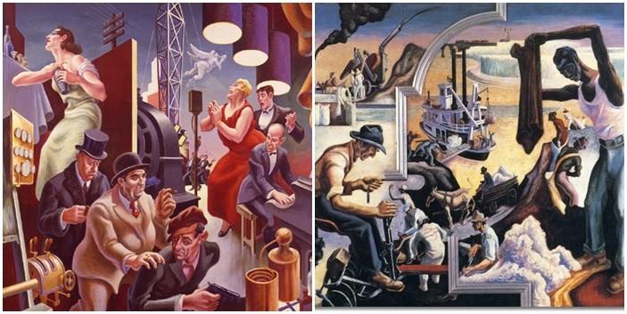 1930-1 yıllarında New York'ta yaptığı, 10 panelden oluşan America Today adlı duvar resmi, Kükreyen Yirmiler'in ruhunu taşıyan, Bölgeselciliği önceleyen, Avangard Avrupa sanatından ve Meksika duvar resminden izler taşıyan, ABD kültürünün ırkçılık, endüstrileşme ve sosyal değerlerini sergileyen bir yapıttır. Bölgeselcilik akımının tepe noktası olarak kabul edilen bu eser, günümüzde MOMA'da sergilenmektedir. Thomas Hart Benton, Amerika Today (1930-1) adlı duvar panolarından ikisi. Fotoğraf:blog.ctnews.com