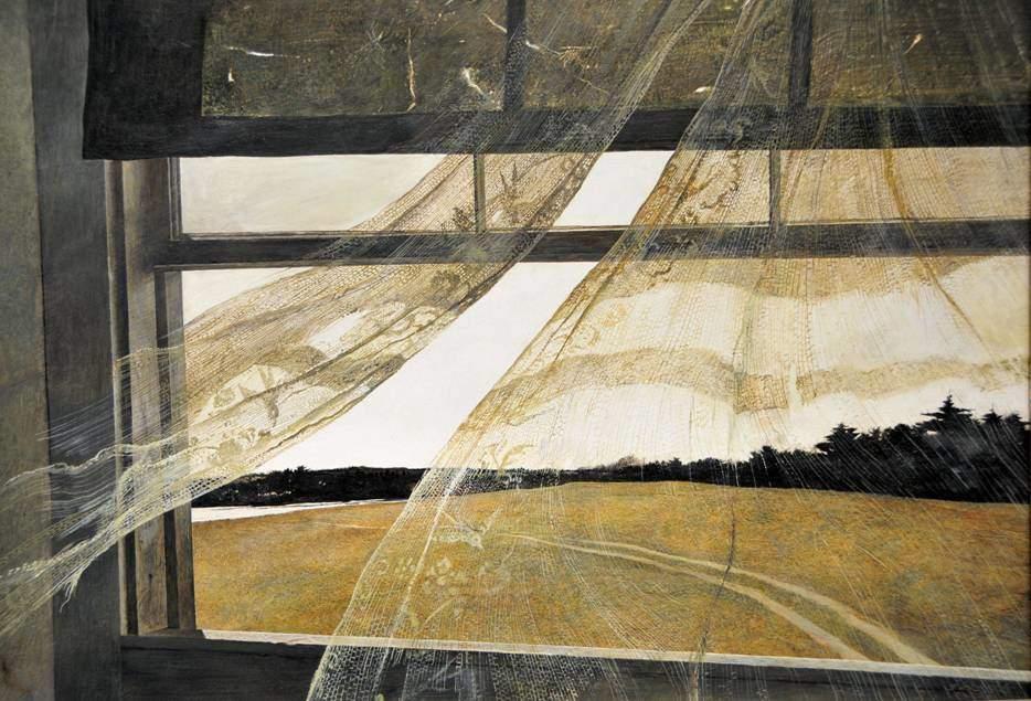 Andrew Wyeth, Wind from the Sea, 1947. Pencereler sanatçının ilgi alanı olmuş, yakından, uzaktan, içerden, dışardan, perdeli, uçuşan perdeli, pencereden görünen manzara, penceden görünen pencere gibi çeşitli şekillerde pencereleri bir çok tablosuna konu yapmıştı. Fotoğraf:doubleohelix.wordpress.com