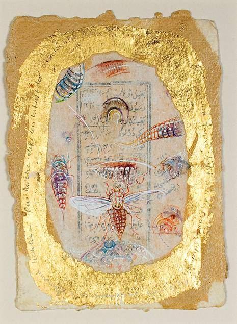 Ergin İnan'ın Çağdaş Sanatlar Müzesi'nde sergilenmekte olan 1985 tarihli Ayakizi adlı gravürü. Ergin İnan genellikle taşbaskı+reose tekniğini uygulamaktadır. Fotoğraf:csmuze.anadolu.edu.tr