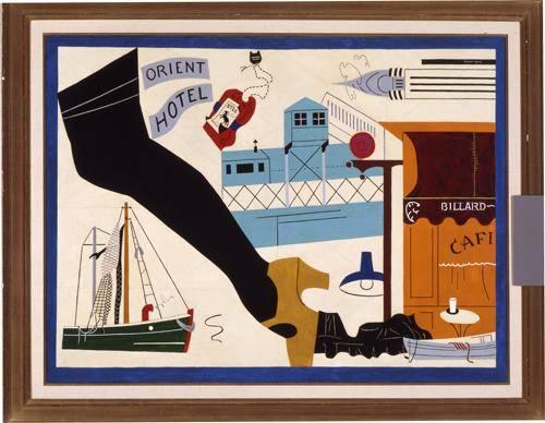 Stuart Davis, New York-Paris No.1, 1931. Sanatçı Paris'ten NY'a dönüşünde bu iki modern şehir hakkındaki izlenimlerini Caz müziği ve  reklam formlarının etkisinde   betimleyen üç tablo yaptı. Miro ve Léger'nin Kübist etkisini de taşıyan bu kolajda objeler birer piktogram gibi yerleştirilmiş,  Modern Kadın'ın çoraplı bacağını, dolma kalem şeklindeki Chrysler Binası'nı, geleneksel anlam ve değerlerinden soyutlayarak, zaman ve mekanda serbest bırakmıştır. Fotoğraf:uima.uiowa.edu