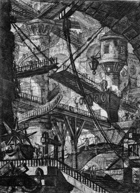 Giovanni Battista Piranesi'nin 1749-50 yıllarında yaptığı Carceri d´invenzione gravürlerinden birinde bir labirent mekan. İtalyan bir kontun, bu çizimlerden esinlenerek kendisine fantastik bir şato yaptırdığı, çıkmazlar, geçilmesi zor yerler, dönüp dolaşıp aynı yere çıkan koridorlarla evini bir labirente dönüştürdüğü, uşaklar kendisine çok güç ulaştığı için odasında ölüsünün günler sonra bulunduğu söylenir. Fotoğraf: sala17.wordpress.com