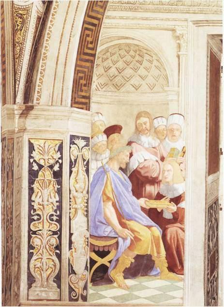 Lorenzo Lotto'ya (1480-1557) atfedilen, Justinyen'in komisyon üyelerinden kanun kitabını alışını gösteren tablo. Fotoğraf:arthistoriesroom.wordpress.com