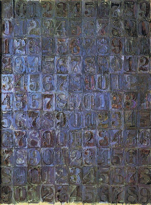 Jasper Johns, Gri Numaralar, 1958. Aynı sıklıkla yerleştirilmiş rakamlar elde edebilmek için kullanılan ızgara planın sol üst köşesi hariç tüm kutuları doludur. Fotoğraf:www.jasper-johns.org