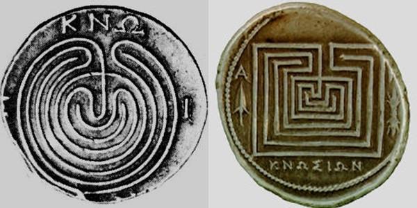 Girit, Knossos'un labirent dekorlu ünlü parası. Minos uygarlığı yıkıldıktan çok sonra, Helenistik dönemde (MÖ 323-146/30-31), ticaret kolonileri tarafından, MÖ 300-70 arasında basılmıştır. Fotoğraf:patagoniamonsters.blogspot.com ve www.labyrinthos.net