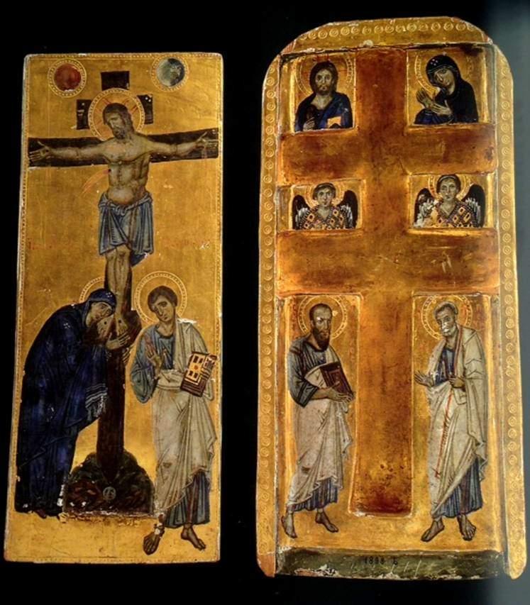 İsa'nın çarmıha gerildiği haç olduğuna inanılan, 4. yüzyılda Azize Helena tarafından Kudüs'te bulunmuş Gerçek Haç'ın parçalarından birinin muhafaza edildiği rölikerlerden biri. Levha üzerine tempera ve altın, 10. yüzyıl ortası, Konstantinopolis. Vatikan Müzesi, Vatikan. Bu rölik, Vatikan hazinesinin en kıymetli parçalarından biridir. Rölikerin sürgülü kapağı vardır. Sol tarafta görülen parça, kapaktır. Sağ tarafta görülen iki kollu haç (crux gemina) Doğu Hristiyanlığında yaygın kullanılan bir haçtır. Bu haçın betimlenmesinde politik bir amaç olduğu da düşünülebilir. Kapaktaki betimleme, geleneğe tamamen uygundur. İsa'nın çarmıhı Adem'in kafatasının üzerinde yükselmektedir; olayın etkisi ile ay ve güneş donup kalmıştır. Geleneksel olmayan ise, Meryem'in, acı içinde oğlunun ayaklarına sarılması ve 347-407 yılları arasında Konstantinopolis Başpiskoposu olan ve Kilise Babaları arasında sayılan Aziz John Chrysostom'un da betimlenmiş olmasıdır. Bizans dini sanatında o dönemde de hislerin ifade edildiği biliniyor. Rölikerin iç kısmındaki betimlemeler ise şöyledir: en üst solda Pantokrator İsa, en üst sağda oğluna dua etmekte olan Meryem, ortada melekler, en altta ise Azizler Paul ve Peter görülmektedir. Fotoğraf: Byzantium, Robin Cormack ve Maria Vasilaki, Royal Academy of Arts, 2008.