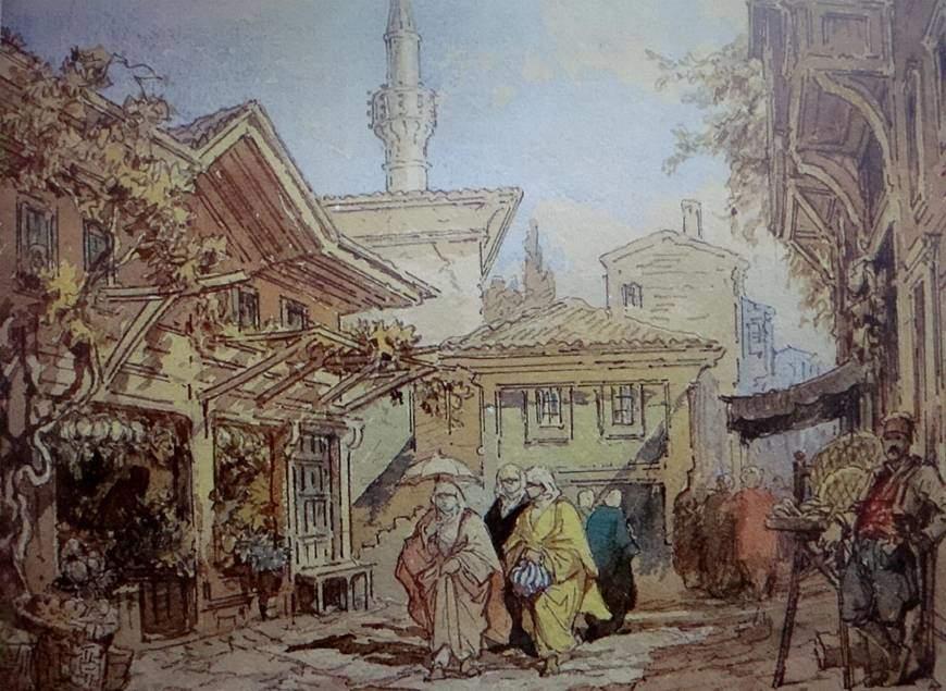 Maltalı, Kont Amadeo Preziosi (1816-1882), sulu boya tabloları ile tanınan Oryantalist bir ressamdır. Balkanlar'ı ve Osmanlı İmparatorluğu'nu konu alan pek çok sulu boya tablosu vardır. Preziosi'nin İstanbul'da Bir Sokak adlı tablosu. Fotoğraf:onokart.wordpress.com