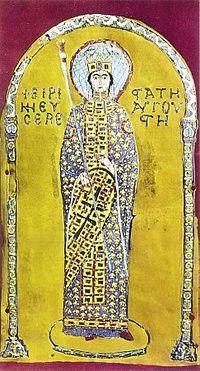 10. yüzyılda yapıldığı düşünülen, 1204 Haçlı İşgali sonucu Konstantinopolis'ten alınıp Venedik, San Marco'ya götürülmüş Pala d'Oro üzerinde Basileus İrene. Fotoğraf: tr.wikipedia.org