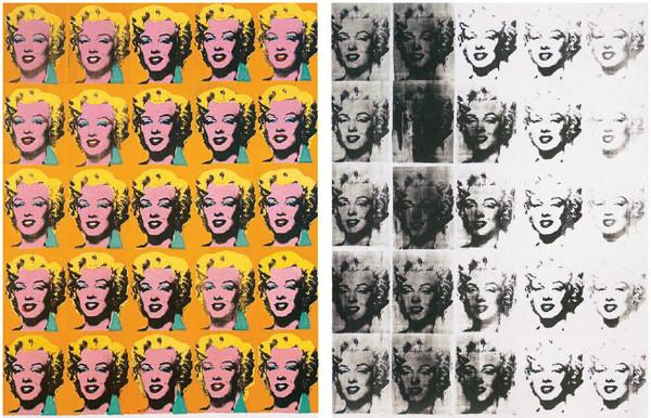 Yine 1962 yılının ürünü olan Marilyn Diptych (Mariyln İki Kanatlı Tablo), tuval üzerine akrilikle yapılmıştır ve Londra'daki Tate Modern'de sergilenmektedir. 4 Ağustos 1962'de Marilyn Monroe'nun trajik haberinin duyulmasıyla Warhol, en ünlü eserlerinden biri haline gelecek serisine başlamış, seride resmettiği Marilyn Monroe portresi için, 1953'te aktrisin yer aldığı Niagara filmi çekimleri sırasında Gene Kornman tarafından çekilen fotoğraftan esinlenmiştir. Teknikten kaynaklanan kusur ve renk lekelerini yücelten bu eserde, 20 Marilyn  portresini yan yana, alt alta sıraladı. Warhol birçok Marilyn portresini tekrarlayan şekilde resmetmiştir ama bu seri diğer tüm Marilyn'lerden en hatırlananı olacaktır. Hepsi aynıdır fakat kendi içinde farklıdır. Warhol'un seri imgelerinde tekrar edilen Marilyn, farklılığın tekrarıdır. 1959-1960 yıllarında reklamcılıktan sanata geçmeye karar veren Warhol, Campbell marka çorba kutuları ve Marilyn Monroe serileriyle tanınmıştır. Fotoğraf:indigodergisi.com