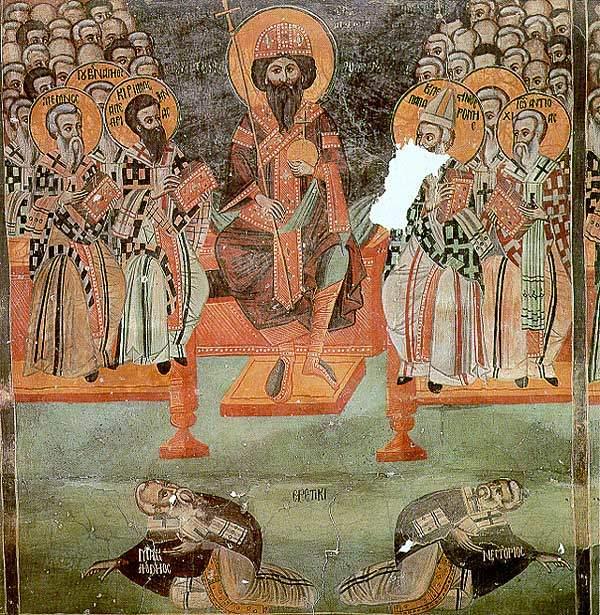 Efes Konsili'nde Aziz Kiril, imparatorun sağında görülmekte, lanetlenmiş heretikler ise sürünerek mekandan uzaklaşmaktadır. Fotoğraf:www.salvemariaregina.info