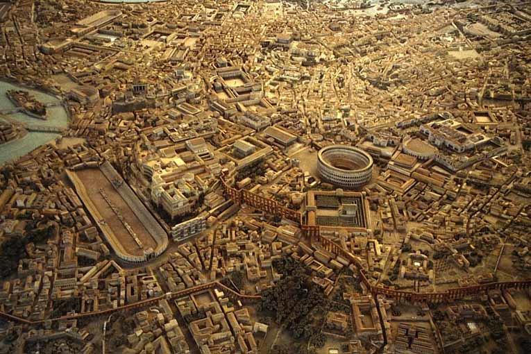 Roma Medeniyet Müzesi'ndeki Antik dönem Roma yerleşim maketi. Fotoğraf:mehmet-urbanplanning.blogspot.com765 × 510