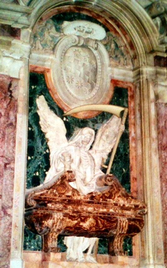 Roma'da, San Pietro in Vincoli Kilisesi'nde, Carlo Bizzaccheri'nın (1656-1721) eseri olan, ölümün Azrail ve elindeki tırpanla gösterildiği memento mori bölümü.