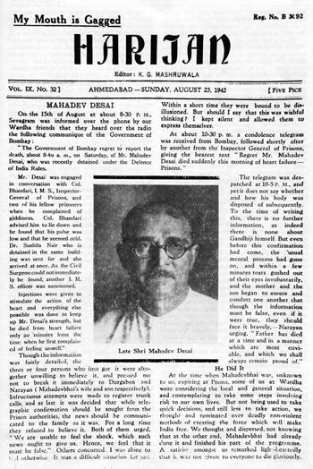 Gandhi'ci aktivist ve özel sekreteri gibi çalışan Mahadev Desai, Gandhi'nin Harijan ismindeki haftalık gazetesini çıkarmaktan da sorumluydu. Fotoğraf:en.wikipedia.org