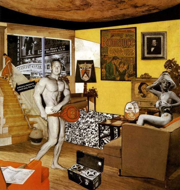 Bugün Evlerimizi Böylesine Farklı ve Çekici Kılan Nedir, Richard Hamilton, 1956.  Londra'da yapılan This is Tomorrow (Bu Yarındır) adlı sergideki diğer bir eseri bu kolajdır. Bu ünlü kolaj, eleştirmenler ve sanat tarihçileri tarafından Pop Art akımının ilk örneklerinden biri sayılır. Bu yapıt, tüketim toplumunun gerçek bir envanteridir ve Pop Sanat'ın kapsadığı tüm konuları içermektedir. Pop sözcüğü de yapıtın içinde çok belirgin olarak yer almaktadır. Fetiş nesnelerin yapıtta böylesine yığılması bir eleştiriden çok, çağdaş insanın ve sanatçının gerçeğini oluşturan imgelerin betimlenmesidir. Fotoğraf:cosahoimparatooggi.com