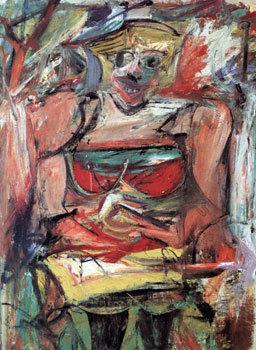Kadın V, Willem de Kooning, 1952-3. Oturan kadın imgesini tamamen renk lekeleri olarak da görebiliriz. Fotoğraf:en.wikipedia.org