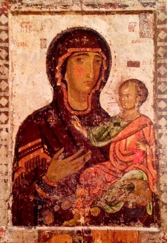 Bakire Hodegetria ikonası, 12. yüzyıl, ahşap panel üzerine yumurta akı kullanılarak yapılmış tempera. Hodegetria, yol gösteren, kılavuz demektir. Bu Kılavuz Meryem ikonası, Aziz Luka'nınkinin kopyasıdır, denir. Taşınabilir ikonalar, savaş alanına götürülerek koruyucu etkisinden yararlanılmak istenirdi. Meryem, Konstantinopolis'in koruyucusu idi. Bizans Müzesi, Gazimagosa, Kıbrıs.